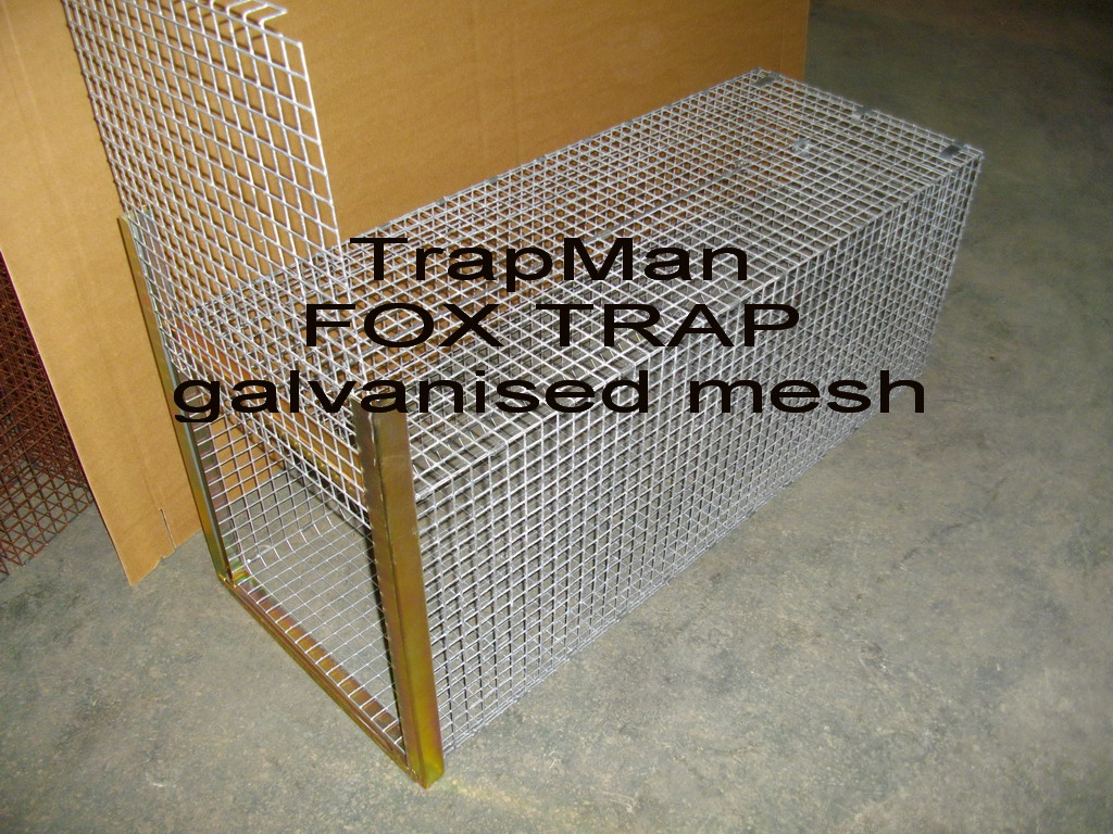 "Fox trap galvanised mesh construction with a plated steel door slide assembly, 1""x1"" square galvanised mesh 48"" long x 18"" x 19"", with a free fall drop down door, triggered by a wire bait pull or treadplate"